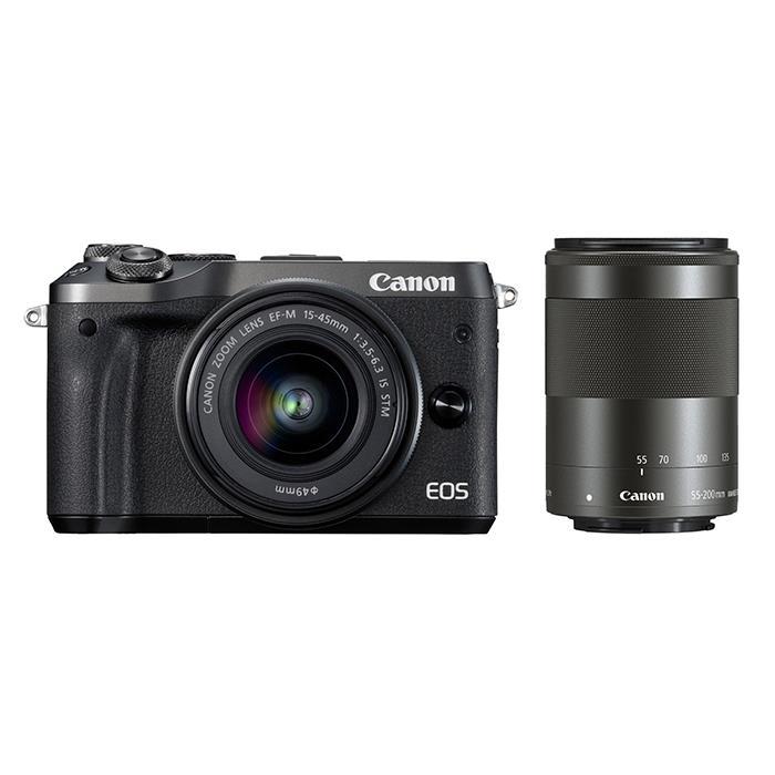 《新品》 Canon (キヤノン) EOS M6 ダブルズームキット ブラック[ ミラーレス一眼カメラ | デジタル一眼カメラ | デジタルカメラ ]【KK9N0D18P】