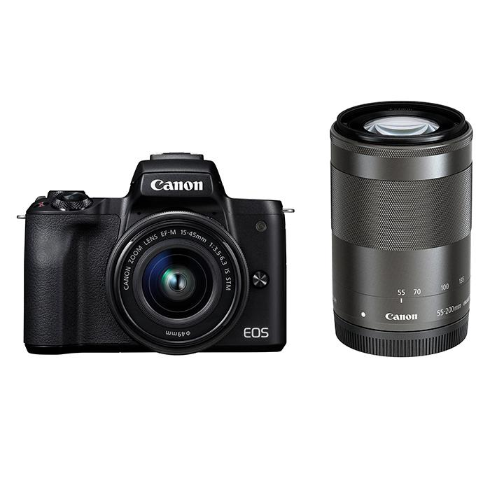 《新品》 Canon (キヤノン) EOS Kiss M ダブルズームキット ブラック【¥10,000-キャッシュバック対象】[ ミラーレス一眼カメラ | デジタル一眼カメラ | デジタルカメラ ]【KK9N0D18P】
