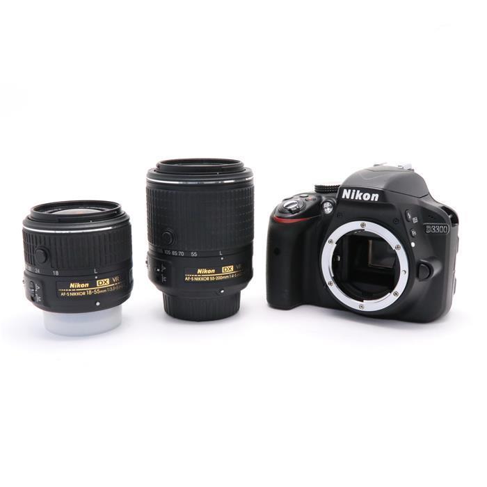 【あす楽】 【中古】 《良品》 Nikon D3300 ダブルズームキット2 ブラック [ デジタルカメラ ]