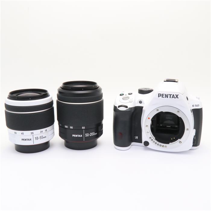 【あす楽】 【中古】 《良品》 PENTAX K-50 ダブルズームキット ホワイト [ デジタルカメラ ]