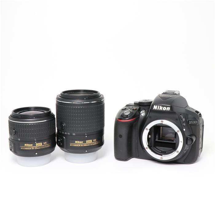 【あす楽】 【中古】 《美品》 Nikon D5300+18-55 VR II+55-200mm VR II セット ブラック [ デジタルカメラ ]