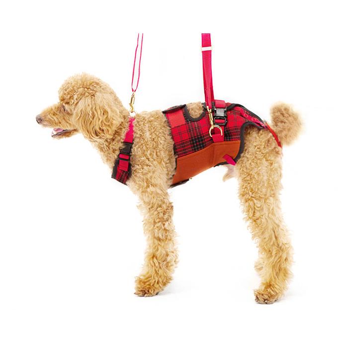 歩行補助ハーネスLaLaWalk小型犬・ダックス用 赤チェック M