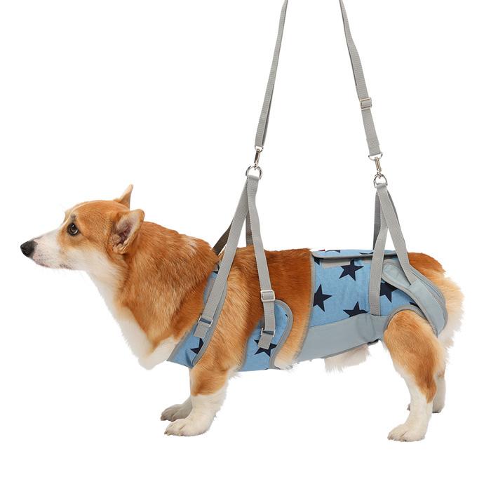 歩行補助ハーネスLaLaWalk 中型犬・コーギー用 スターデニム CM