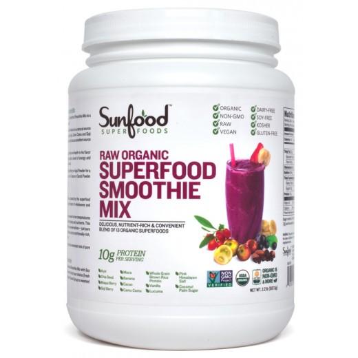 【オーガニック】サンフードオーガニック スムージーミックスパウダー 【997g】マキベリー、ゴジベリー(クコの実)、チアシード他 Sunfood Organic Smoothie Mix 2.2lb