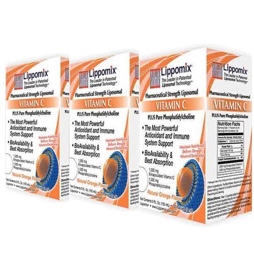 3箱セット ビタミンC 1000mg リポミックス 30包 リポゾーム ビタミンC (ナチュラルオレンジフレーバー)大人気 液体サプリメント Liposomal VITAMIN C