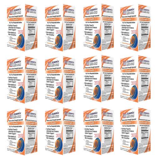 12箱セット ビタミンC 1000mg リポミックス 30包 リポゾーム ビタミンC (ナチュラルオレンジフレーバー)大人気 液体サプリメント Liposomal VITAMIN C