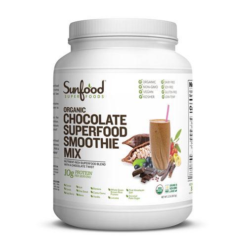 【オーガニック】サンフードオーガニック チョコレート スムージーミックスパウダー 【997g】カカオ、ゴジベリー(クコの実)、マカ他 Sunfood Organic Smoothie Mix Chocolate 8oz