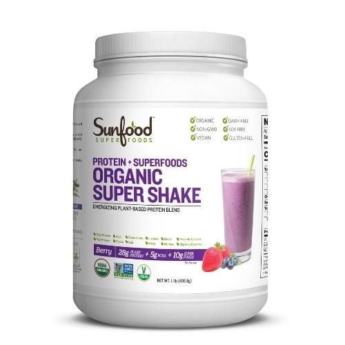 【オーガニック】サンフード オーガニック スーパーシェイク ベリー【498.9g】Sunfood Organic Super Shake Berry,1.1lb