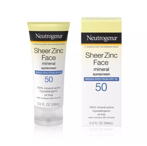 夏に欠かせない定番のサンスクリーン ニュートロジーナ 敏感肌用 ノンケミカル 顔用 日焼け止めSPF50 59ml 紫外線吸収剤不使用 Neutrogena Face 買取 - 定価 SPF 2oz Lotion 50 Zinc Sheer