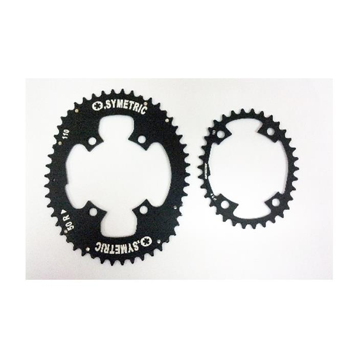 O.SYMETRIC (オー シンメトリック) チェーンリング シマノ 4アーム 36×52 ブラック 【自転車】