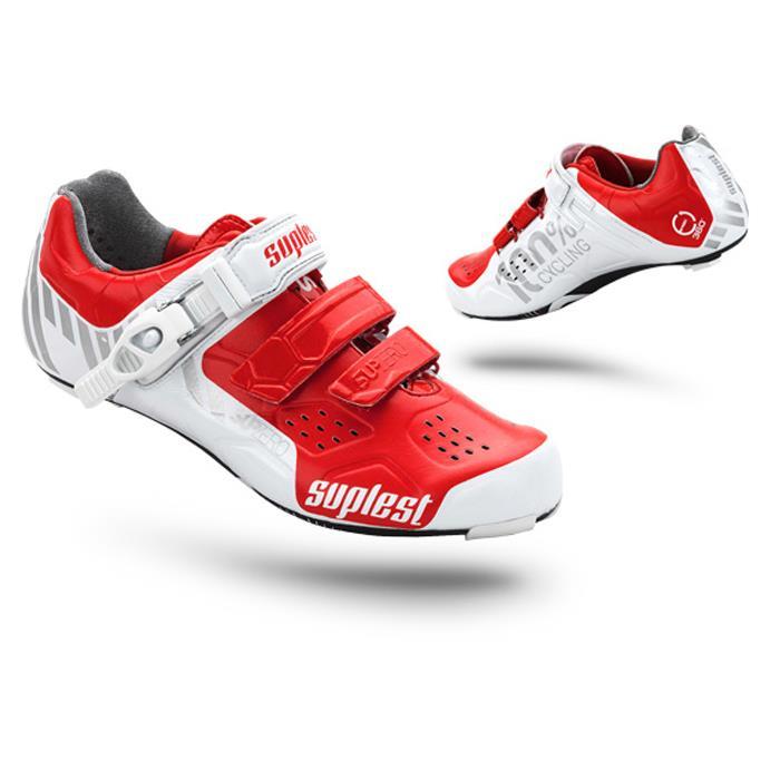 suplest(スープレスト) STREET RACING Carbon ストリートレーシング カーボン バックルホワイト/レッド 2014モデル ビンディングシューズ【自転車】【05P30Nov14】