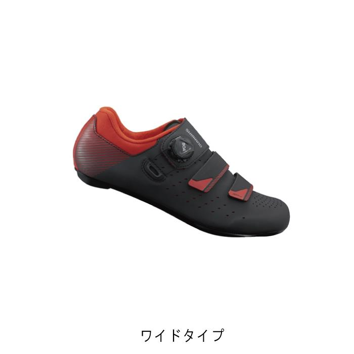 SHIMANO (シマノ) RP4 ブラック/オレンジレッド ワイドタイプ サイズ43(27.2cm) ビンディングシューズ