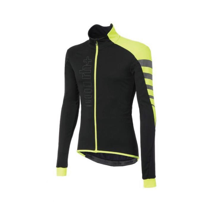 rh+(アールエイチプラス) CODE WIND JACKET ブラック/イエロー/リフレックス サイズS サイクリングジャケット