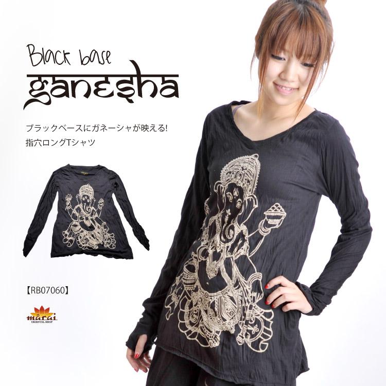 ★ Ganesha shine in black base! finger hole t-shirt ♪ @T0104