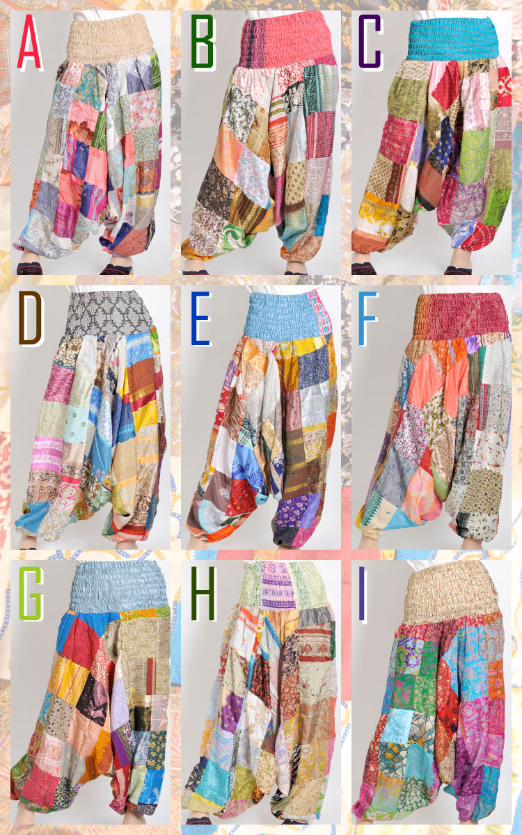 Unique designs! At one point things! ☆ India silk patch ☆ sarrouel pants ♪ lets go ☆ ★ M @A0206 [Aladdin pants cancel salad balloon patchwork.
