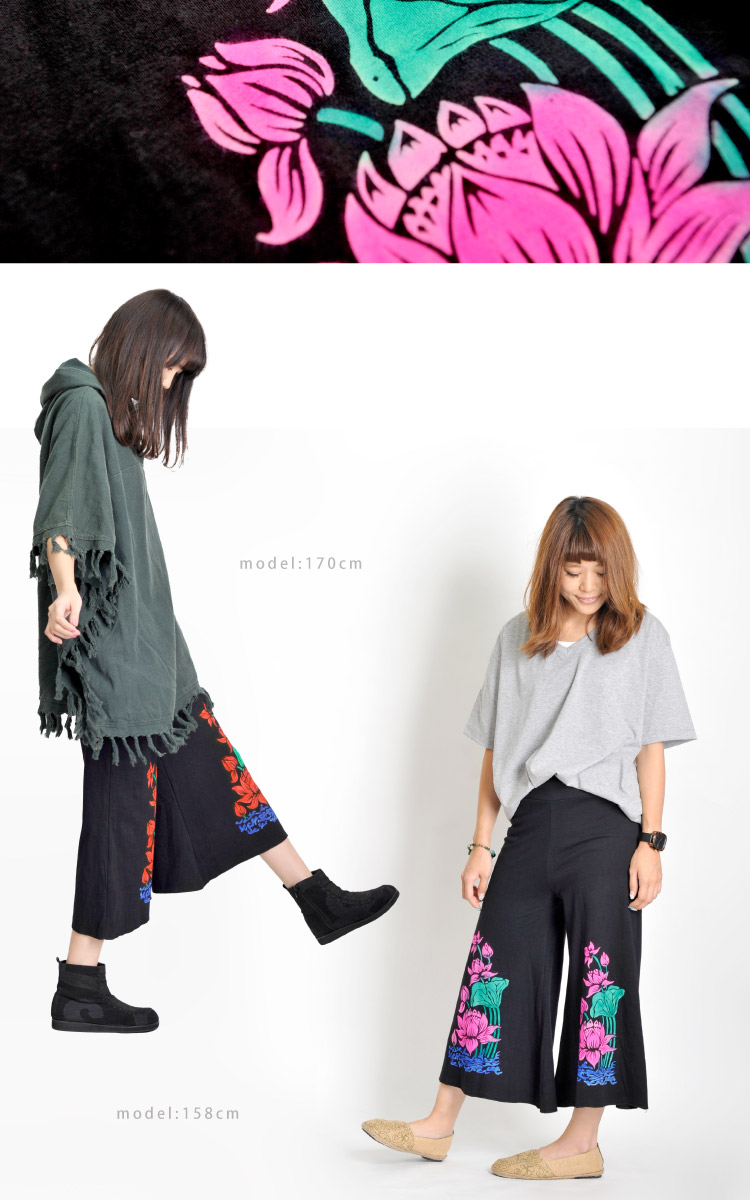 Glamorous カラーロータス ☆ even Palm 7-minute-length Gaucho pants M @T0202 10P30Nov13