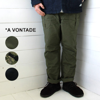 《送料無料》フロントに大きなマチ付きポケットを配した定番のファティーグパンツ A VONTADE アボンタージ ファティーグ トラウザー Fatigue Trousers -Rip 日本製 ベイカーパンツ メンズ 正規取扱店 vontade パンツ a Stop-VTD-0430-PT ご注文で当日配送 正規激安 送料無料