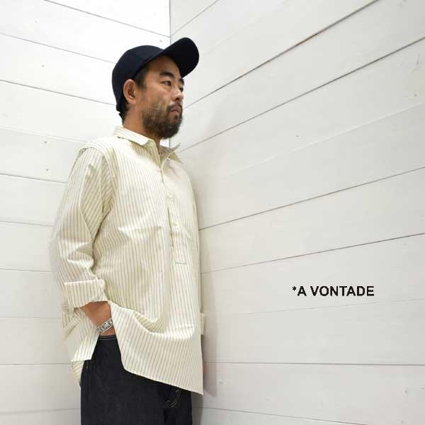 《送料無料》大人のワークシャツ A 1着でも送料無料 VONTADE アボンタージ クラシック プルオーバーシャツ Classic Pullover ShirtsVTD-0346-SH メンズ 新作続 シャツ 正規取扱店 a ストライプ 2021fw 日本製 vontade