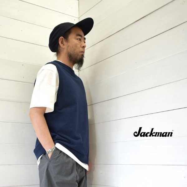 《送料無料》Tシャツ生地を使用したベスト Jackman ジャックマン ベスト VestJM5118 メンズ 売却 コットン L XL 送料無料 正規取扱店 日本製 5%OFF M 大きいサイズ