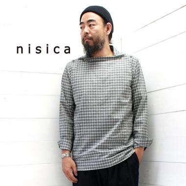 奉呈 《送料無料》定番人気のニシカのシャツ nisica ニシカ デッキマンシャツ グレーチェック NIS-881 メンズ 日本製 セールSALE%OFF 正規取扱店 被り 送料無料 長袖 シャツ