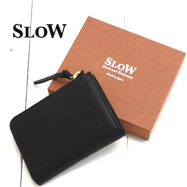 SLOW (スロウ) Lジップ ショートウォレット Lzip short wallet 【bono】333S77I メンズ レディース 財布 ミニ L字 ラウンドジップ 二つ折り 本革 黒 ブランド 日本製 送料無料