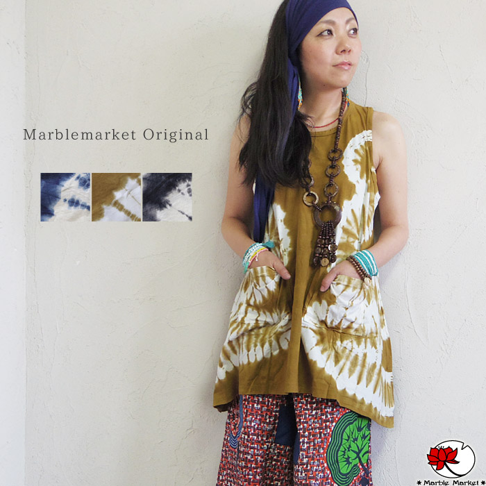 Ethnic tunic dress A-line flare tank top tie-dyeing fashion Lady's horse  mackerel Ann Bohemian hemline no sleeve four season きれいめ