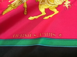 HERMES CARROUSEL エルメス スカーフ シルク 馬柄 レッド グリーン ヴィンテージ 服飾小物 scarf 6629【最小送料】【中古】