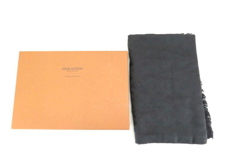 Louis Vuitton ルイヴィトン スカーフ ウール シルク ベルベットグレー142【中古】