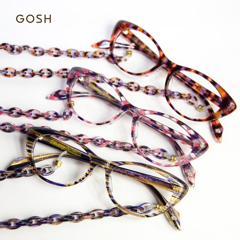 GOSH ゴッシュ オーバルメガネ グラスチェーン 老眼鏡 リーディンググラス シニアグラス レディース 女性 おしゃれ