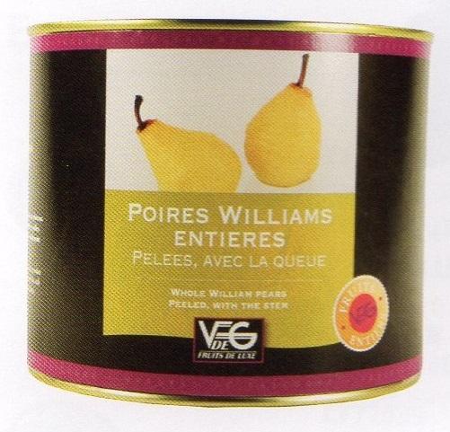 ポワール·ウィリアム(洋梨)のホール12個入り フランス コートリヨネ 2125g×6缶 業務用