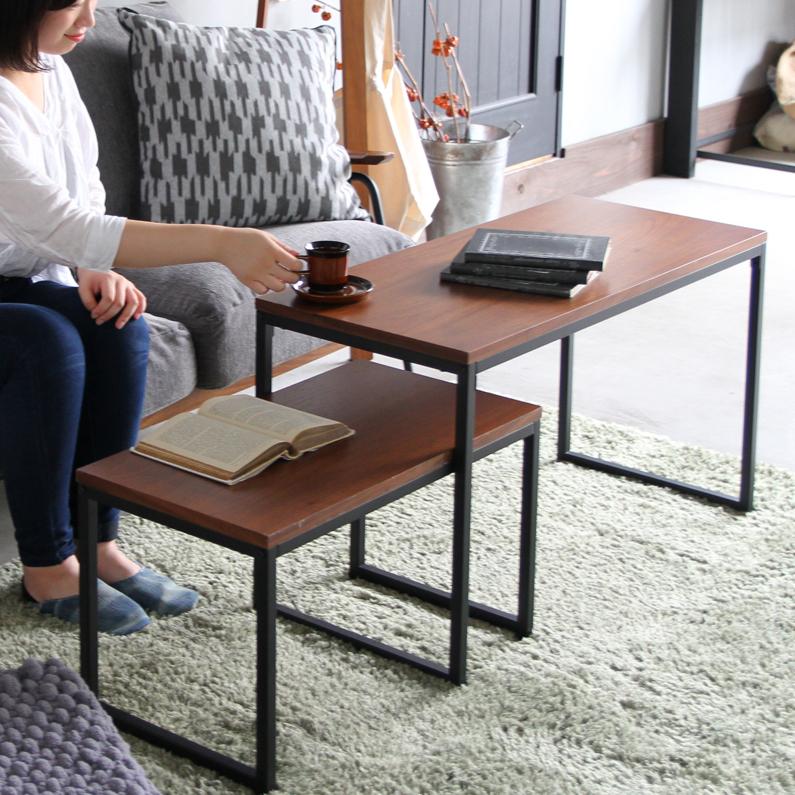 【すぐに使える100円OFFクーポン】 大小2個セット 横幅90cm / 横幅65cm ネストテーブル サイドテーブル 台 リビングテーブル ウォールナット anthem Nest Table ANT-3194BR 机 作業台