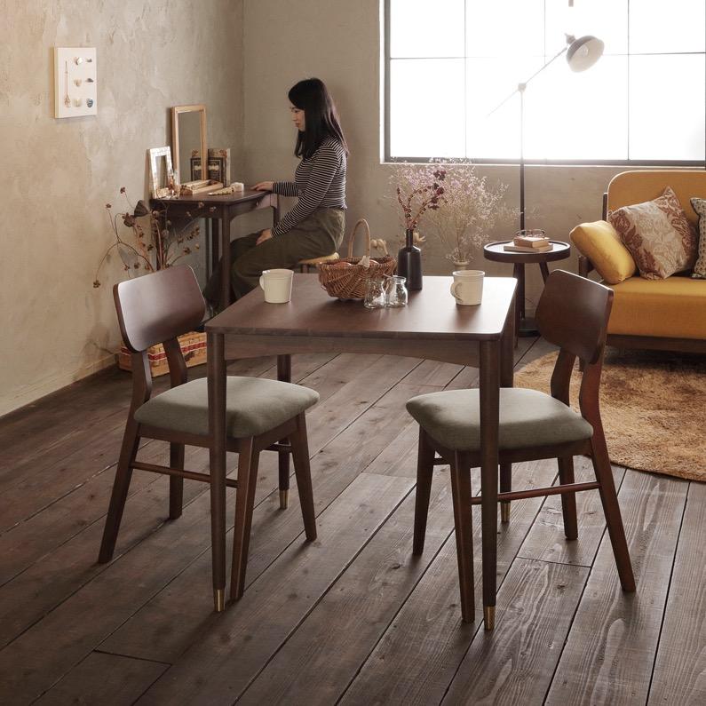 送料無料 限定 おしゃれ ダイニングテーブル 2人掛け 75cmサイズ 天然木 シンプル ブラウン 新生活 カワイイ デスク 引越し テーブ