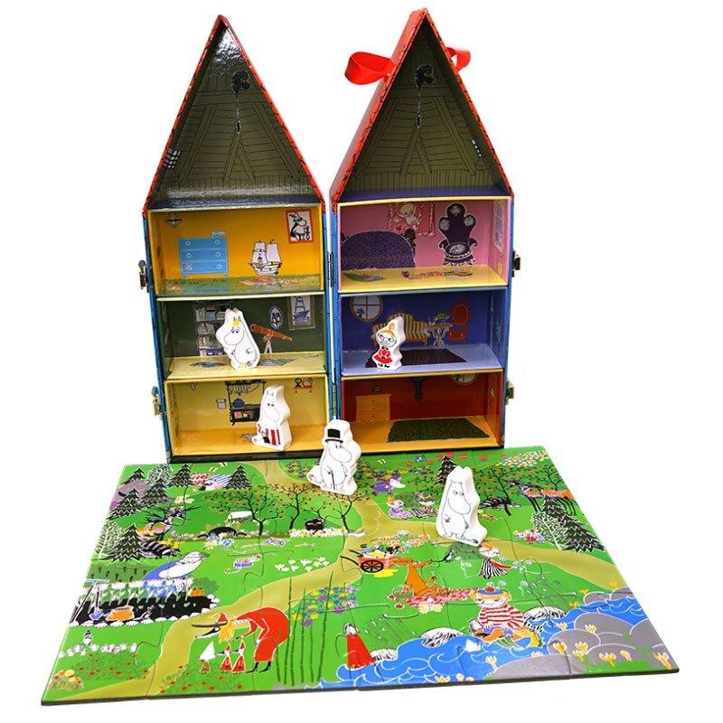 エントリーでポイント10倍 ムーミンハウス& 木製人形セット パズル付ムーミン グッズ プレゼント moomin 誕生日 ギフト ホワイトデー 父の日 レディース