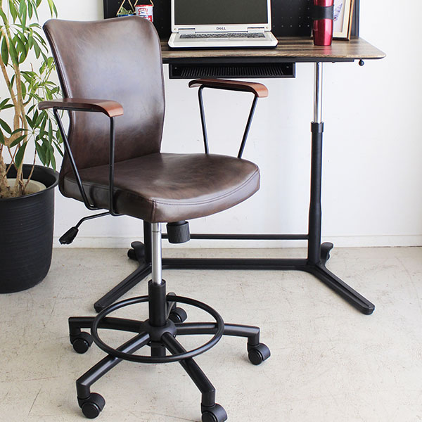 チェア オフィスチェア ハイバック 椅子 いす おしゃれ キャスター付 昇降式 ナイロン 合成皮革 ★ルティオフィスチェア