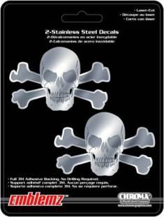 ステッカー スカル ドクロ ステンレスステッカー スケートボード スケボー スマホ 買物 PC タブレット 楽器 Stainless Emblem ギター 2ピース Skulls 卓出 1206 アメリカン カーアクセサリー 2pc