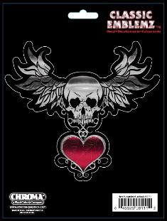 ステッカー スカル ドクロ スカル羽ハートスケートボード スケボー セール特価品 スマホ PC タブレット メーカー在庫限り品 楽器 ギター Wings Skull アメリカン Heart ハート カーアクセサリー w