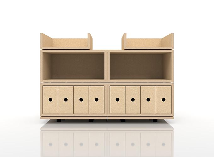 A4書類・小物の収納(BLC-DT×2、BLC-16HA×1、BLC-16HA-V4×1、BLC-04-S×2)/卓上で使う収納 奥行き深め:BLC組み合わせ例 /マルゲリータ