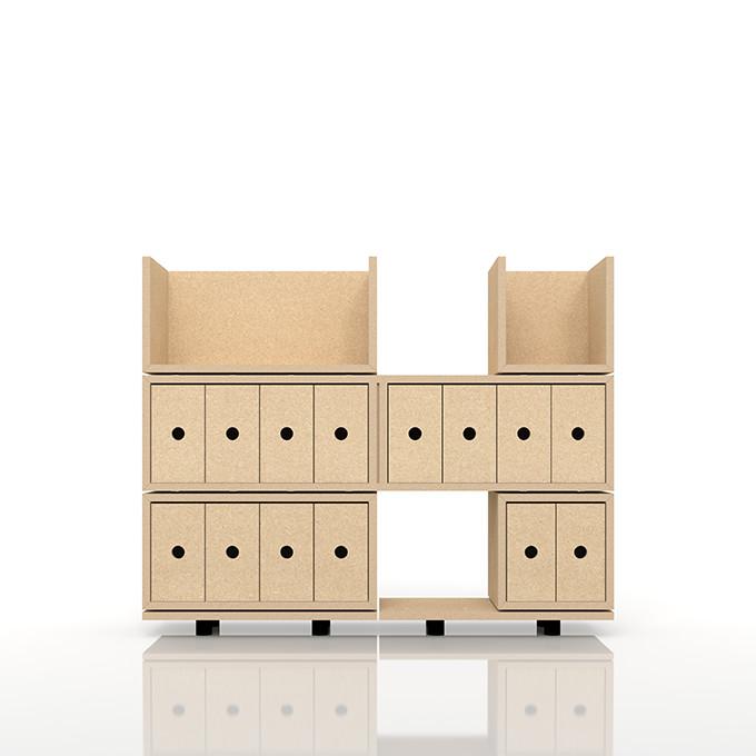 ブックスタンド+小物の収納 おしゃれ 大容量 インテリア 寝具 収納 収納家具 木製ラック(BLC-BS-02×1、BLC-BS-01×1、BLC-04E-V4×1、BLC-02-V4×1、BLC-01-V4×1、BLC-04-S×2)/卓上で使う収納 奥行き浅め:BLC組み合わせ例 /マルゲリータ