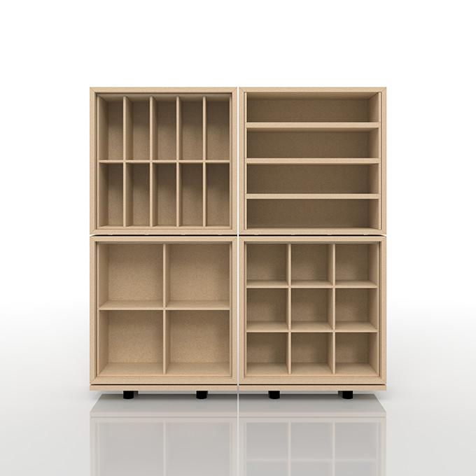 オープン棚 おしゃれ 大容量 インテリア・寝具・収納 収納家具 CD・DVD・コミック・オーディオ収納 CDラック 木製ラック(BLC-04-D×1、BLC-04-G×1、BLC-04-SA×1、BLC-04-SI×1、BLC-02-S×2)/卓上で使う収納 奥行き浅め:BLC組み合わせ例 /マルゲリータ