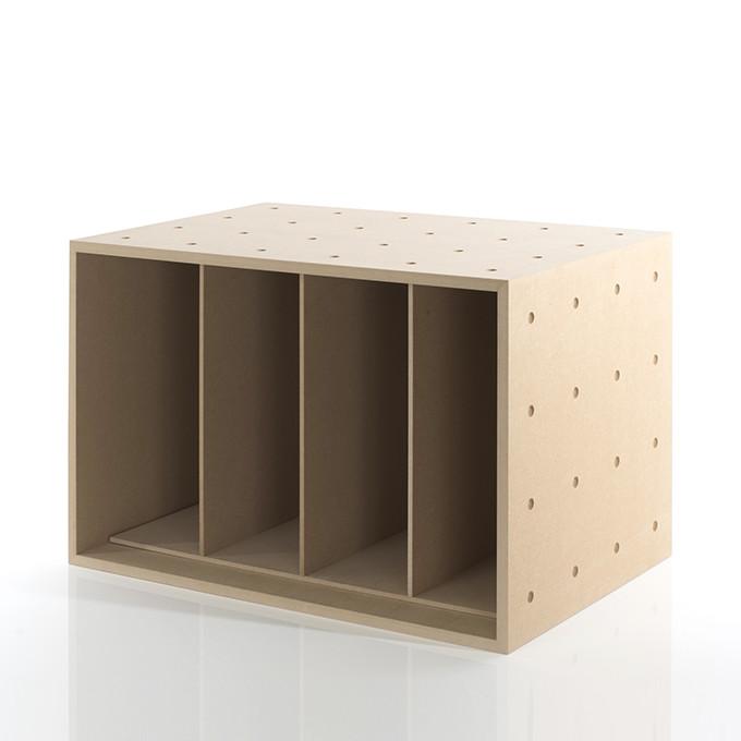 レコード収納ボックス 仕切り付き 木製(レコード棚 レコードラック カラーボックス ストレージボックス キューブボックス キューブ ボックス スタッキング ラック)BLC-12-D2 /マルゲリータ