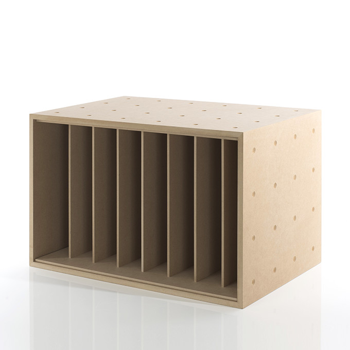 本・雑誌収納ボックス 仕切り付き 木製(本棚 カラーボックス ストレージボックス キューブボックス キューブ ボックス スタッキング ラック 大容量)BLC-12-Da /マルゲリータ