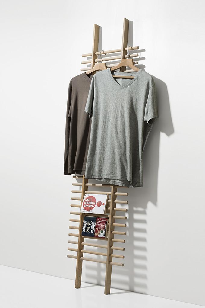 ラダーラック 木製 BONE(おしゃれ ラダーシェルフ 壁面収納 ネクタイハンガー ネクタイ掛け ハットフック 帽子掛け 収納ラック 壁掛け 壁 壁面 デザイン インテリア 送料無料)BONE-02 /マルゲリータ