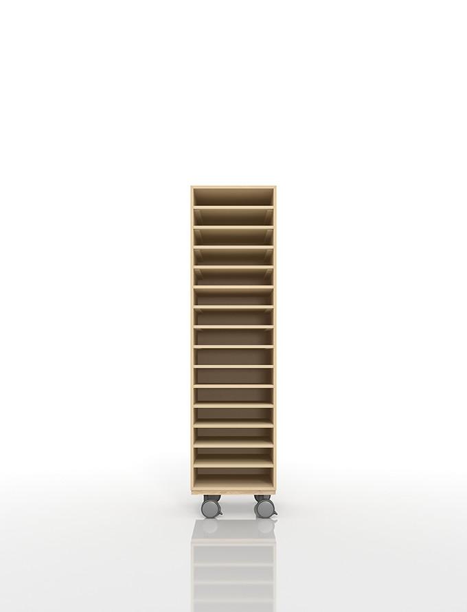 A4書類棚 キャスターベースセット 15段 木製 大容量(PNO-A4-15×1+BLC-12-BX×1) /マルゲリータ