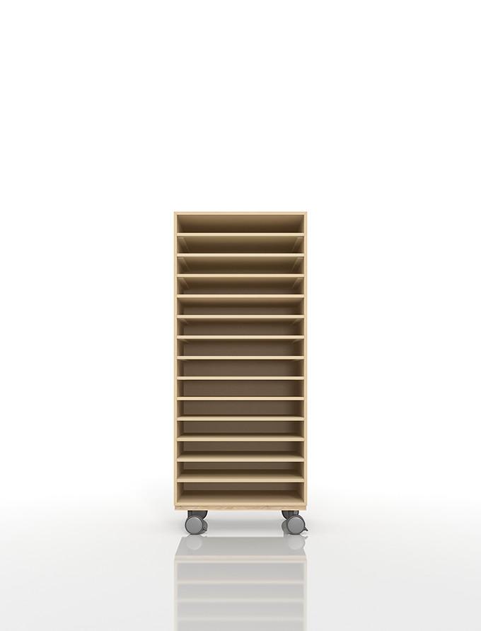 A3書類棚 キャスターベースセット 14段 木製 大容量(PNO-A3-14×1+BLC-12-BX×1) /マルゲリータ