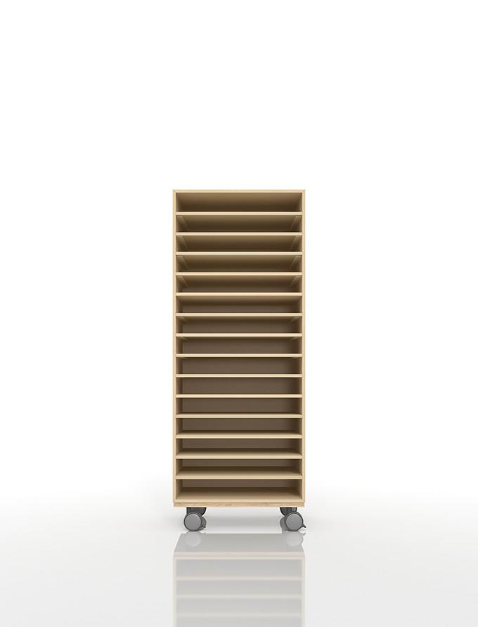 A3書類棚 キャスターベースセット 15段 木製 大容量(PNO-A3-15×1+BLC-12-BX×1) /マルゲリータ
