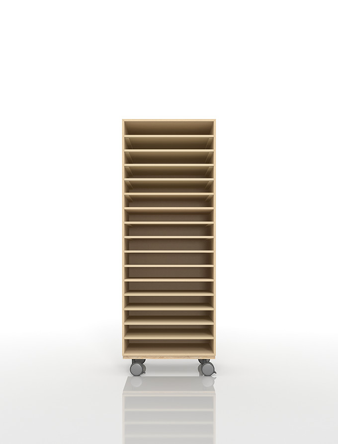 A3書類棚 キャスターベースセット 16段 木製 大容量(PNO-A3-16×1+BLC-12-BX×1) /マルゲリータ