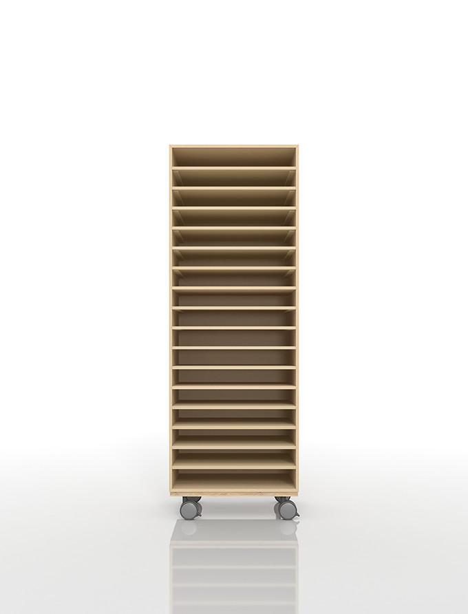 A3書類棚 キャスターベースセット 17段 木製 大容量(PNO-A3-17×1+BLC-12-BX×1) /マルゲリータ
