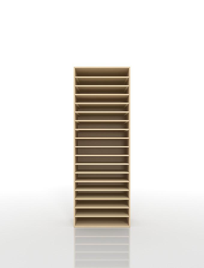 書類棚 A3 18段 木製(書類収納棚 書類整理棚 書類ラック 書類ケース 書類トレー 書類入れ マップケース 図面棚 オフィス家具 大容量 送料無料)/PNO-A3-18 /マルゲリータ