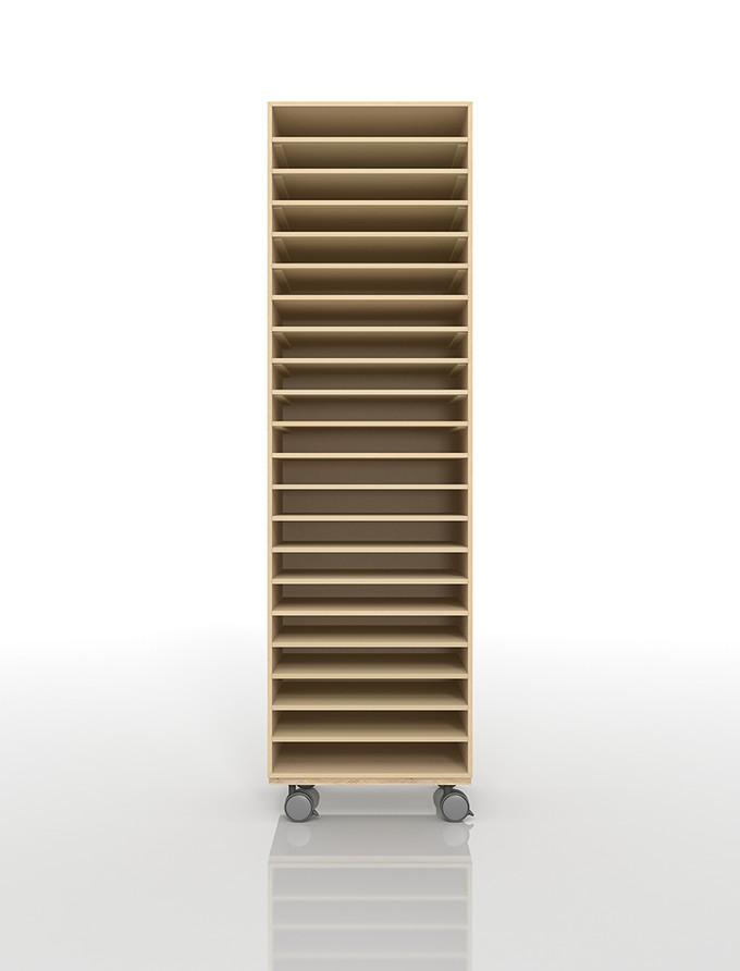 A3書類棚 キャスターベースセット 21段 木製 大容量(PNO-A3-21×1+BLC-12-BX×1) /マルゲリータ