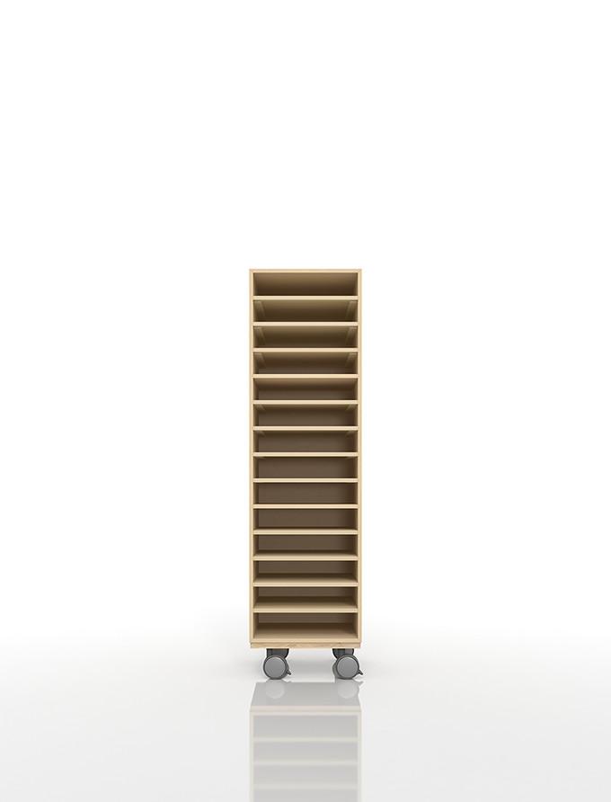 A4書類棚 キャスターベースセット 14段 木製 大容量(PNO-A4-14×1+BLC-12-BX×1) /マルゲリータ